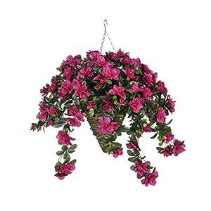 Silk Flower Arrangements House of Silk Flowers Artificial Fuchsia Azalea in Beehive Hanging Basket