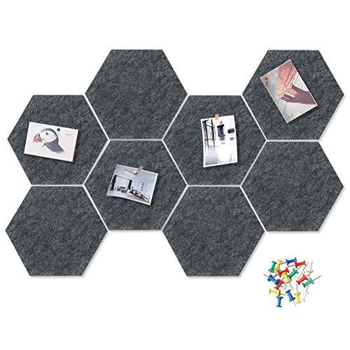 HyFanStr Filz Pinnwand Pinnwand Pinnwand Hexagon DIY Memoboard Pinnwand mit 20 Pinnnadeln Dekorative Korktafel für Büro Schlafzimmer