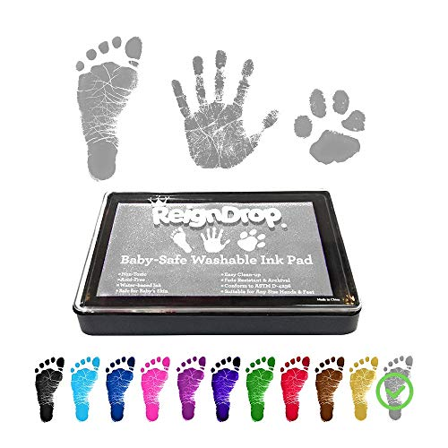 ReignDrop Ink Pad For Baby Footprint, Handprint, Create Impressive Keepsake Stamp, Non-Toxic and Acid-Free Ink, Easy To Wash Off, Long Lasting Keepsakes, Use On Dark Paper Only (Shimmery Silver)