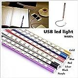 Lámpara creativa de aleación de aluminio Mini 10 LED Luz de teclado USB Noche Lámpara flexible Lectura Notebook Laptop Plug (1 PC)