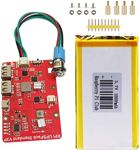 Raspberry Pi 4B 3B+ 3B UPSPack Power Supply Lithium Battery Expansion Board V3 Plus Version Power Display Safe Automatic Switch Machine (Expansion Board and 10000mAh Lithium Battery)
