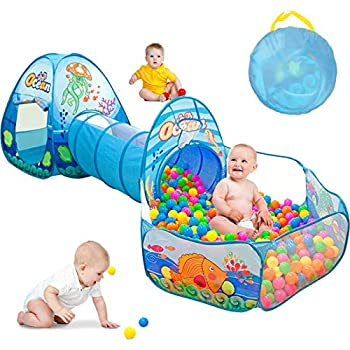 SUNBA YOUTH 3 in 1 Kids Play Tent Ball Pit Tents with Play Crawl Tunnel,Pop Up Playhouse & Ball Pit with Basketball Hoop for Boys & Girls,Toddlers Indoor & Outdoor Gift