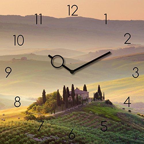 Wanduhr aus Glas, Tuscany Garden, Toskana Landschaft, grün, 30x30 cm von Eurographics