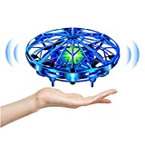 UTTORA Mini Drone Flying Toy Hand Operated Drones for Kids or Adults -UFO Drone Helicopter, Easy Indoor Outdoor Flying Ball Drone Toys for Boys Girls (Blue)