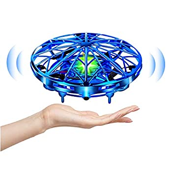 UTTORA Mini Drone Flying Toy Hand Operated Drones for Kids or Adults -UFO Drone Helicopter Easy Indoor Outdoor Flying Ball Drone Toys for Boys Girls  Blue
