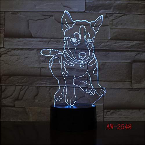 Schöne 3D Tischlampe Kinder Spielzeug Geschenk Hund Nachtlicht Farbe Hund Acryl USB r Schwarz Basis LED Schlafzimmer Geschenk n XW-Nachtlicht2548