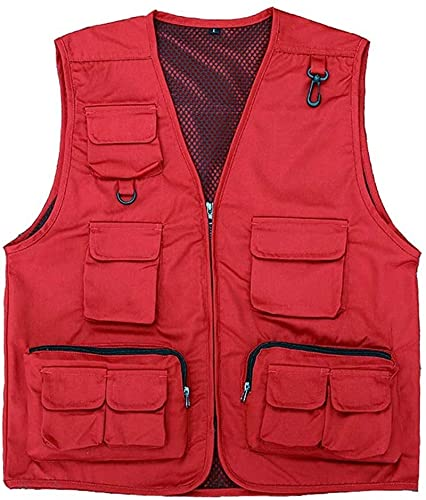 Chaleco de malla para hombre, de secado rápido, ligero, transpirable y de secado rápido, HMLIFE (color: rojo, tamaño: XXL)