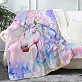 Bonsai Tree Unicorn Blanket, Fancy Cute Castle Soft Warm Sherpa Throw Blanket for Kids Girls Women, Watercolor Pink Purple Thick Crystal Velvet Fleece Blanket for Couch Bed Living Room, 50x60 Inches