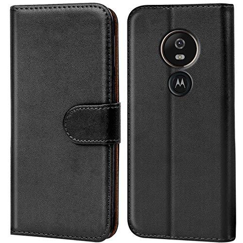 Conie Handyhülle für Motorola Moto G6 Play Hülle, Premium PU Leder Flip Hülle Booklet Cover Weiches Innenfutter für Moto G6 Play Tasche, Schwarz