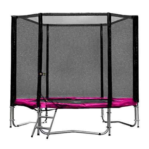Baunsal GmbH & Co.KG Gartentrampolin Trampolin 244 bis 250 cm in pink mit Sicherheitsnetz und Einstiegsleiter