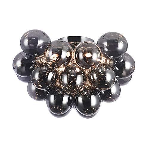 Moderne außergewöhnliche Deckenleuchte, getönte schwarze Glaskugel, chromiertes Metall, für Schlafzimmer, Wohnzimmer, Esszimmer, 8-flammig, exkl.8 x G9 28W IP20 220-240V