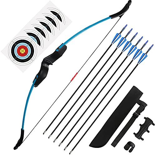 The7boX Set Arco e Frecce Ricurvi per Giovane Tiro con l'arco Allenamento per Principianti Sport All'aperto con 6 Frecce 6 Carte Bersaglio Protezione per il Braccio Faretra Freccia