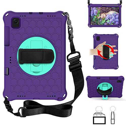 QYiD Kids Case for Galaxy Tab S5e Case 2019, Light Weight Non-Toxic EVA Shockproof Case Rotatable Strap, Pencil Holder & Shoulder Belt for Galaxy Tab S5e 10.5 inch 2019 SM-T720/T725/T727, Purple/Aqua