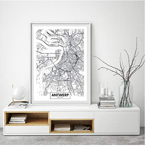 Antwerp City Map Poster Canvas Art Prints Modern Minimalistisch Art Painting Black and White Picture Living Room Home Wall Art Decor 30 * 50cm framloos