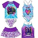 Disney Descendants Little Girls Swimsuit Set: Rash Guard Tankini Skort One-Piece 6X Blue/Purple