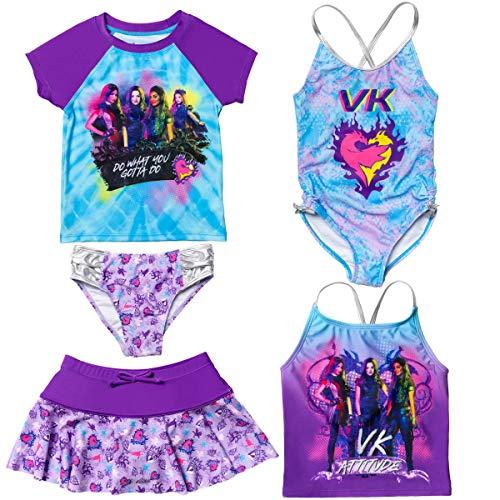 Disney Descendants Big Girls Swimsuit Set: Rash Guard Tankini Skort One-Piece 7-8 Blue/Purple