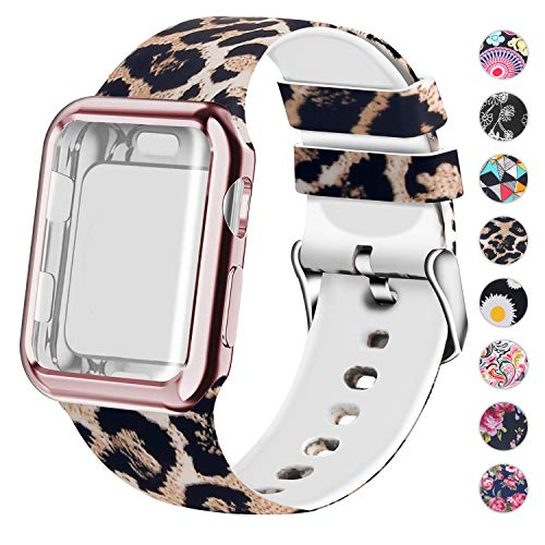 Huishang Compatible for Apple Watch Band with Screen Protector Case