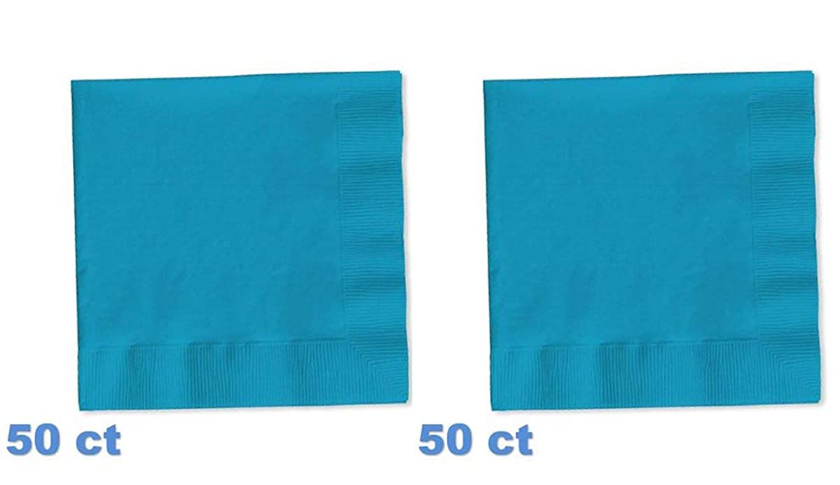 Creative Converting (573131B) 50-Count Touch of Color 3-Ply Paper Beverage Napkins, Turquoise (2 Pack)