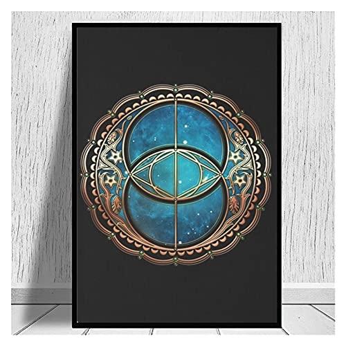 CCZWVH Vesica Piscis Chalice Well Symbol Avalon Magic Canvas Liendas 20x28 Inch Sin Marco