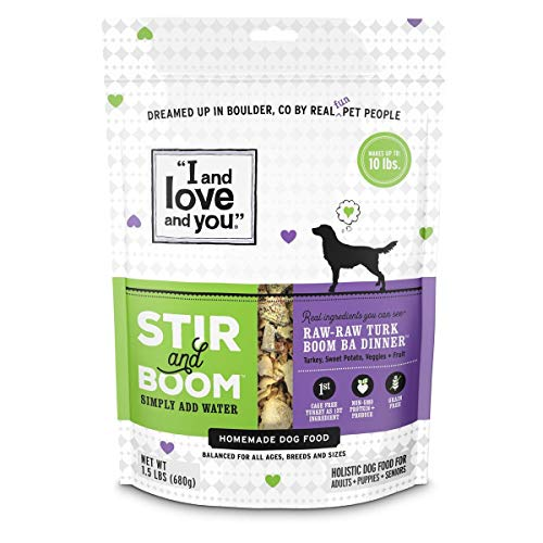 I and love and you Stir & Boom Dehydrated Freeze Dried Raw Dog Food, Turkey, 1.5-Pound Bag