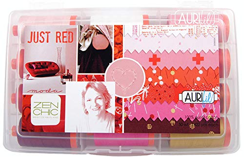 Amazing Deal Aurifil USA Brigitte Heitland Just Red Collection 50wt 12 Large Spools Thread, Mulitple