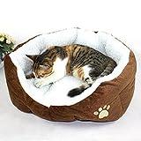 MFEIR Hundebett Katzenbett Baumwolle Pet Bett Kissen für Hunde Katzen Kleintiere,Braun,Groß