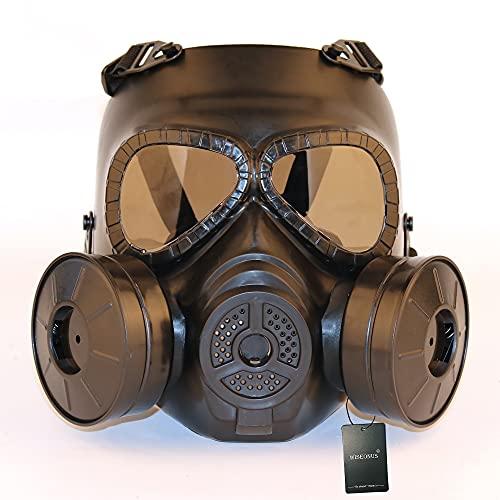 WISEONUS Mascara Táctico Paintball Lente Ahumada Mascarilla Facial con Doble Turbofan Tactical Airsoft Equipo de Protección