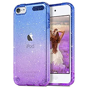 ULAK Clear Gradient Glitter Case for iPod Touch 7th/6th/5th Generation Hybrid Slim Cute Case for Girls Women Shockproof Anti-Scratch Soft TPU Bumper Cover for iPod Touch 7/6/5 Blue+Purple