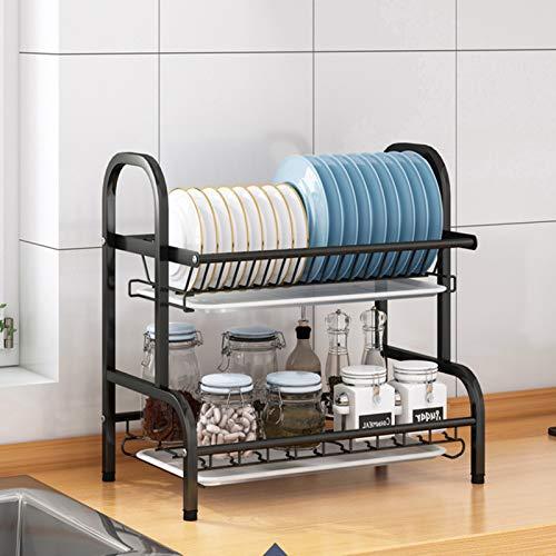 Estantes de cocina de acero inoxidable, estante de drenaje para mesas, palillos, platos, armario, estante multicapa negro1