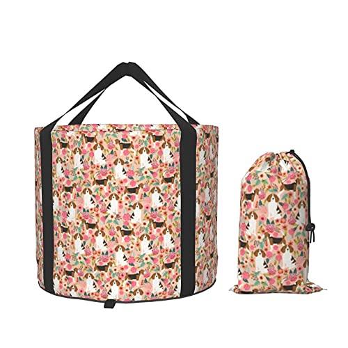 Beagle Flowers FloralsCompact Contenedor de almacenamiento portátil plegable para camping, barco, pesca