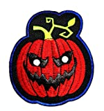 HHO Red Pumpkin DIY Applique Embroidered Sew Iron on Patch Skull Logo Halloween Iron On Patch Sew Iron on Kids Craft Patch for Bags Jackets Jeans Clothes