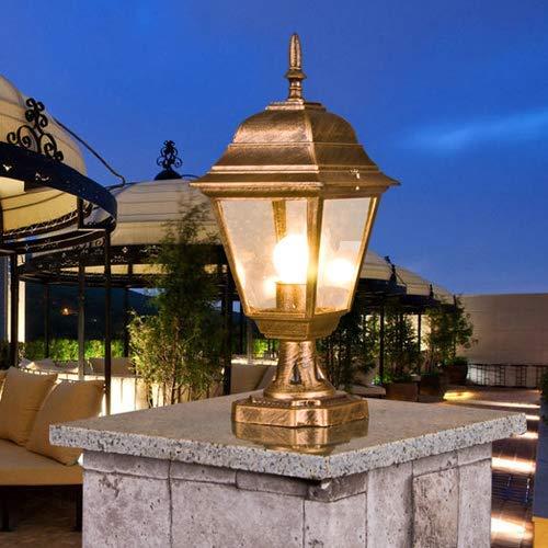 NZDY Iluminación para Exteriores Lámpara de Columna Columna Victoriana Tradicional Linterna de Luz Aluminio Clásico Vidrio Fundido a Presión Al Aire Libre Impermeable E27 Lámparas de Poste de Pilar P