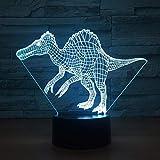 Illusion lampe 3D veilleuse LED dinosaur chambre lampe de chevet cadeau de noël maison Avec chargement USB, changement de couleur coloré