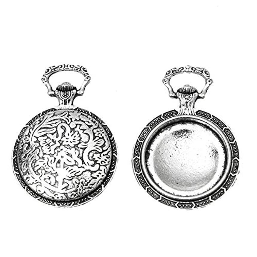 Monrocco 10Pcs Antique Silver Pocket Watch Cabochon Frame Pendant Alloy Jewelry Making Charms