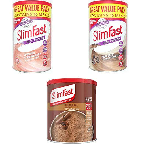 SlimFast KIT Made of High Protein Meal Replacements Shakes (Chocolate 300g, Strawberry 584g, Cafe Late 584g), 3 Flavours in One Handy Kit