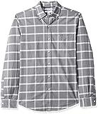 Amazon Essentials - Camisa ajustada de manga larga hecha de tela Oxford, con diseño a cuadros, y bolsillo, para hombre, Gris (Grey Windowpane Gre), US S (EU S)