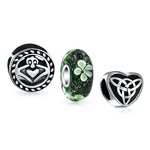 Bling Jewelry Keltisch Knot Kleeblatt Irisch Claddagh Sklee Satz Von 3 Silber Distanzstück Passt Europäischen Charm Armbänd Für Frauen