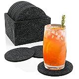 Untersetzer Gläser 18er Set, WOVTE Glasuntersetzer Rund mit Aufbewahrungsbox, Waschbar, für heiße und kalte Getränke wie Kaffee, Bier, Milch, Saft, Whiskey