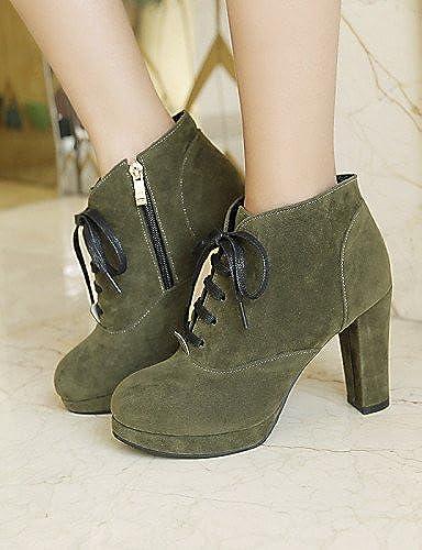 XZZ  Chaussures Femme - Habillé    Décontracté - Noir   Vert   Beige - Gros Talon - Bout Arrondi   Bottes à la Mode - Bottes - Faux Daim  abordable