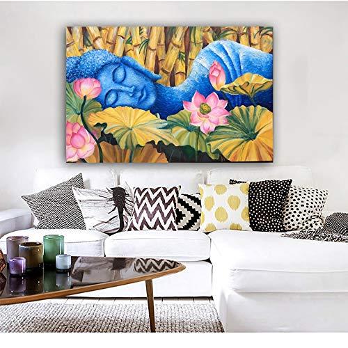 ganlanshu Rahmenlose Malerei Lotus Buddha Bilder Wohnkultur Poster und Drucke Moderne Dekoration Gemälde Wohnzimmer WandbilderZGQ4927 70X105cm