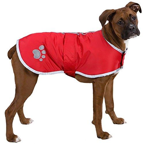 Vivi Bear hond jas hond trui Met reflecterende regenjas klittenband ontwerp is gemakkelijk aan te passen Winter vest Geschikt voor puppy's, middelgrote honden en grote honden, S, Rood