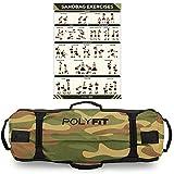 Polyfit Heavy Duty Workout Sandbag - Durable and Adjustable Fitness Sandbag with Filler Bags and 8 Gripping Handles - Sandbag for Fitness (30lbs to 75lbs) - Camo