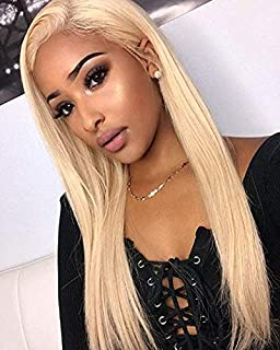613 Full Lace Wig Human Hair With Baby Hair 130 Density Blonde Full Lace Wig Pre Plucked Bleached Knots (16 inch, full lace wig)