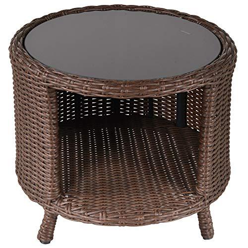 Outsunny Tavolino da Giardino Rotondo con Vano Portaoggetti in Rattan PE e Ripiano in Vetro, 51x51x42cm Marrone