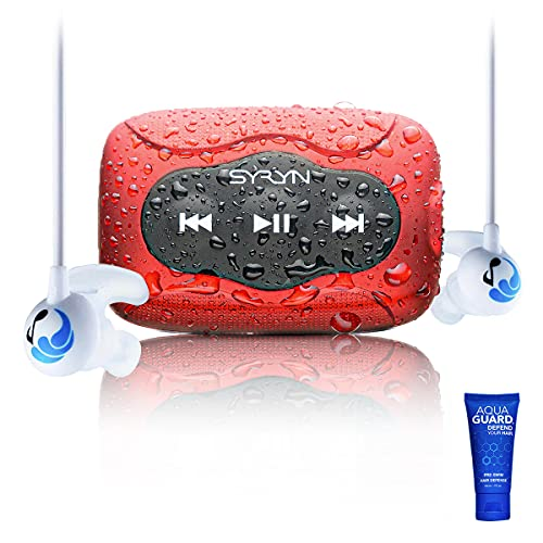 SYRYN Swimbuds Sport Bundle | 8 GB Waterproof Music Player Compatible with iTunes Files (No Apple Music)