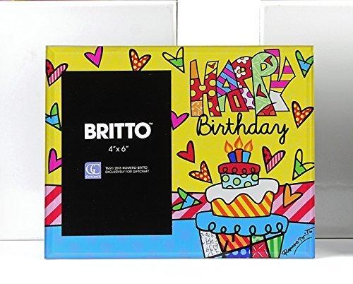 Romero Britto Glass Photo Frame - Happy Birthday - by Britto