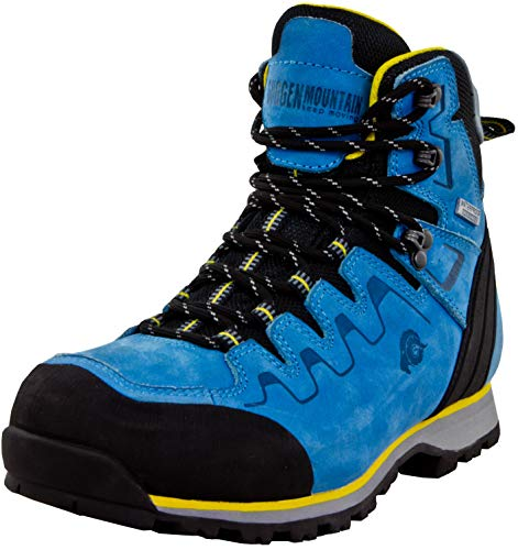 GUGGEN Mountain PM025 Bottes De Trekking Et de Randonnée pour Femme Chaussures De Plein Air Imperméables avec Membrane Et Cuir Couleur Bleu-Jaune EU 39