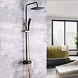 Moderno baño ducha conjunto latón negro oro cuadrado Top Spray 360° giratorio sistema de ducha de mano 3 funciones presurizado grifo boquilla precio aumento agua caliente y fría delicada