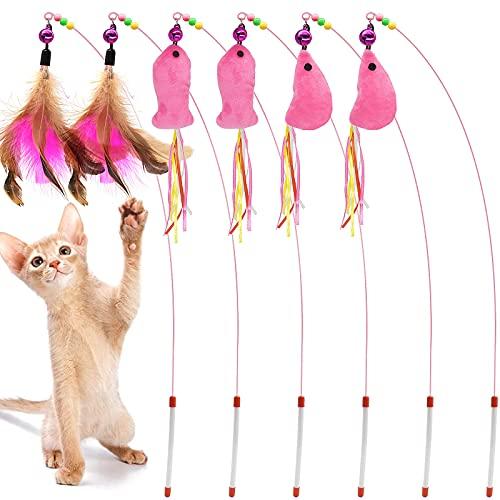 AIDIYA Juguete para Gato, Varita de Plumas, Gato, Juguete para Mascotas, Varita de Alambre con Pluma y Campana (6) ⭐