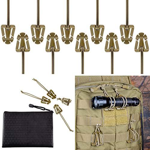 BOOSTEADY 10 Stück Taktische Zeug Klammer Clips für Trinkschlauch Rucksack Straps Management mit Reißverschlusstasche